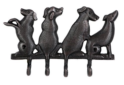 Dennis East Puppy Dog Family Pet Quad Wall Hooks Cast Aluminum