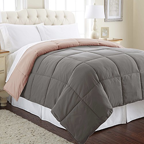 Amrapur Overseas Goose Down Alternative Microfiber Quilted Reversible Comforter/Duvet Insert - Ultra Soft Hypoallergenic Bedding - Medium Warmth for All Seasons - [King, Charcoal/Misty Rose]