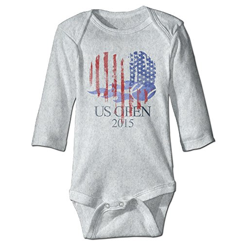 Kids Baby US Open Dated Patriotic USA Flag Long-sleeve Romper Jumpsuit Ash