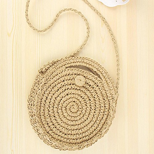 Light Brown Women Retro Beach Prosperveil Handbags Shoulder Round Bag Straw Zipper Travel Crossbody TRqcPcU