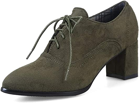 GIY Women's Suede Lace Up Oxford Pumps