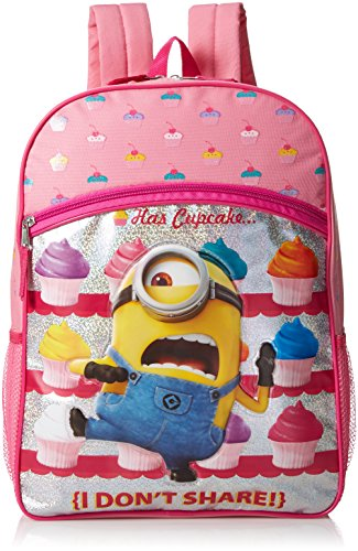 Despicable Me Girls' Universal Cupcake Front Zipper Pocket Pink 16 Inch Backpack -