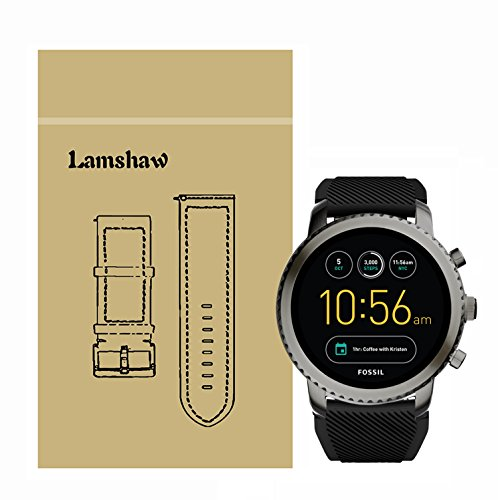 Lamshaw Classic Silicone Replacement Band for Fossil Q Explorist Smartwatch (Black)