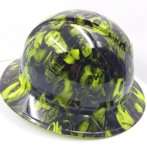 Wet Works Imaging Customized Pyramex Full BRIM NEW GREEN TATTOO BABES HARD HAT With Ratcheting Suspension by Wet Works Imaging (Image #1)