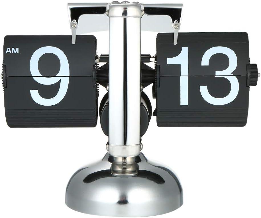 Galapara Reloj de Cuarzo Vintage, Tamaño pequeño Reloj Retro Reloj Acero Inoxidable Voltear Engranaje Interior operar Cuarzo Reloj 12h Am/PM