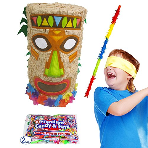 Pinatas Tiki Kit Including Piñata, Buster Stick, Bandana, Candy Filler Hawaiian Bandana
