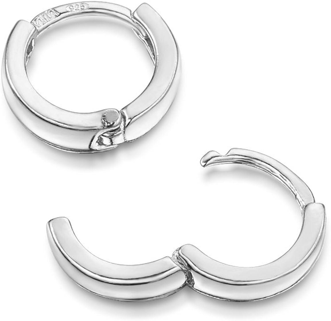 Amberta 925 Plata De Ley Pendiente De Aro Fino Con Cierre De Bisagra – Pendientes De Aro Tipo Criolla – Diámetro: 10 20 45 65 mm