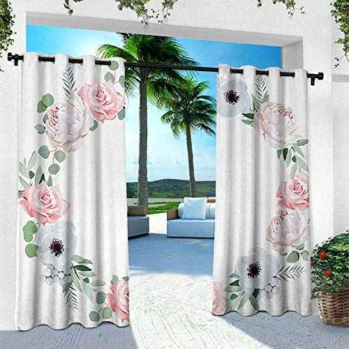 Hengshu Anemone Flower, Indoor/Outdoor Single Panel Print Window Curtain,Delicate Peony Rose Brunia Eucalyptus Leaves Round Wreath, W84 x L84 Inch, Almond Green Pale Pink - Peony Nikkis