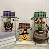 Albabara 3 Pcs Burlap Bags with Drawstring Halloween Party Supplies Goody Bag for Kids' Trick-or-Treat Party Favor, Pumpkin Witch-Style Gift Sacks Pumpkin Bags for Kids Presents Carnival Prizes