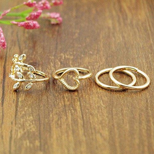 Bocideal(TM) Fashion-Gold überzogen Blatt Herz Joint Knuckle Nagel-Ring-Set der vier Ringe