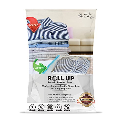 Alpha & Sigma Space Saver Roll-Up Storage Bags 10 Pieces S,M,L Sizes | Practical & Reusable Compression Bags With Ziplock | For Garments, Baby Clothes, Suitcases, Traveling, Underbed, Beddings & More