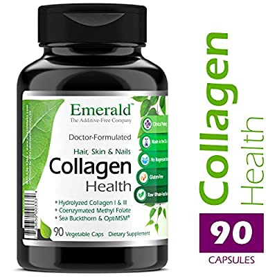 Collagen Health for Hair, Skin & Nails - with Sea Buckthorn & Collagen (Type I & III) - Supports Anti-Aging, Hair, Skin, and Nails Health, & Joints - Emerald Laboratories - 90 Vegetable Capsules
