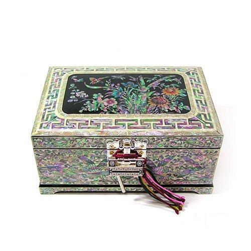 Amazon Com Silver J Wooden Jewellery Box With Mirror Lacquer