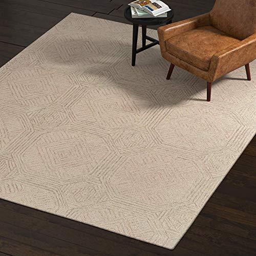 Rivet Geometric Wool Rug, 8' x 10', Gray, Ivory