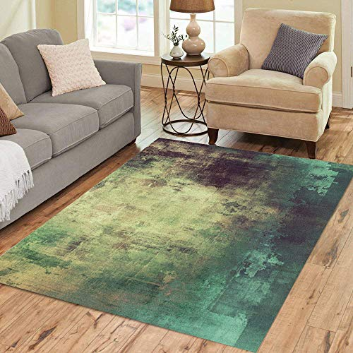 Crazy Green (Pinbeam Area Rug Green Crazy Abstract Old Red Paint Drawing Canvas Home Decor Floor Rug 5' x 7' Carpet)