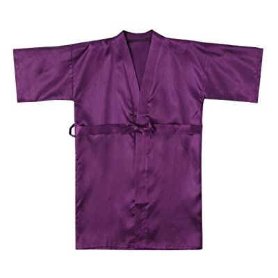 Voberry Kids Flower Girl Satin Kimono Robes Pure Color Bathrobes for Spa Wedding Birthday Party: Clothing