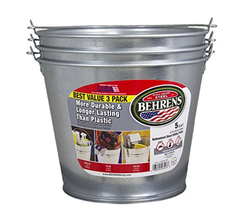 5 Qt Metal Bucket - Behrens 1205GS 5-Quart Galvanized Steel Pail, 3-Pack