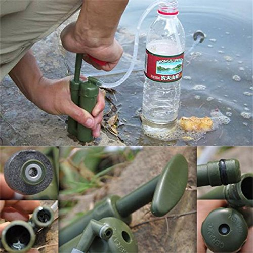 Teekini Outdoor Survival Water Filter Purifier Pump Drinking Pipe Cleaner For Camping Emergency by Teekini