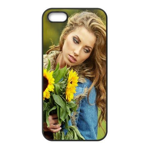 Girl Sunflowers Flowers Blond Box Photo Shoot 96663 coque iPhone 5 5S cellulaire cas coque de téléphone cas téléphone cellulaire noir couvercle EOKXLLNCD24038