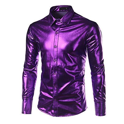KFSO Mens Dress Shirt Glitter Long Sleeve Button Down 70s Disco Shirt Party Costume (Purple, 2XL) ()