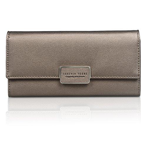 Women Leather Long Wallet (Gray) - 3