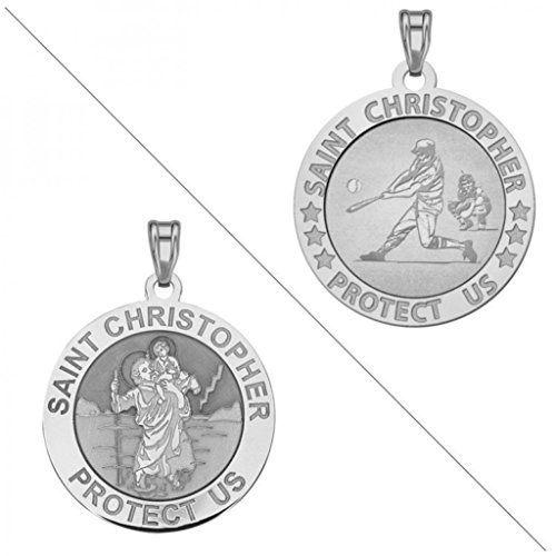 istopher Doubledside Sports Religious Medal 1 Inch Solid 14K White Gold ()