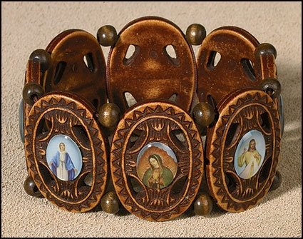 "Religious MEN or Womens Catholic Ornate Devotional Saints Bracelet, Material: Woodtone/epoxy Size: 7"" Adjustable"