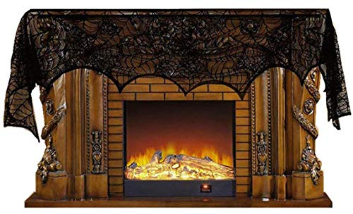Crystyle Halloween Spider Tablecloth Black Lace Fireplace Scarf 18x96 Inches for House Decoration,Dinner Party