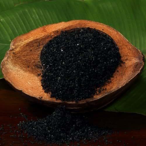 The Spice Lab Medium Hawaiian Black Lava Sea Salt - Premium Gourmet Mineral Dense - Natural and Kosher Certified - 1 Pound Bag