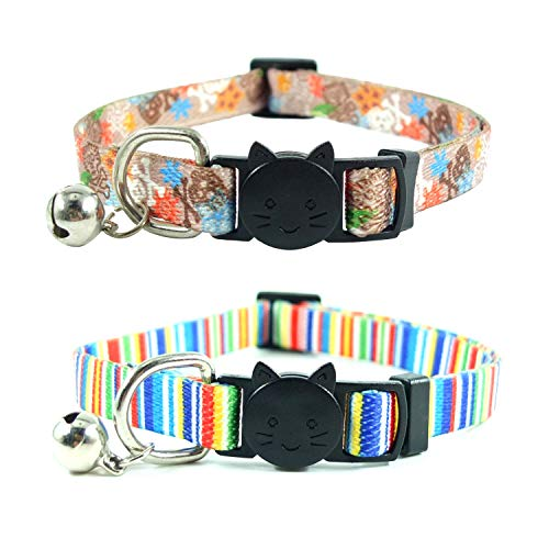 (Cat Collar with Bell Breakaway Cute Dots/Flowers/Stripes/Rainbow/Bone Patterns Safety Buckle Cats Collars for Kitten Kitty Puppies 2PCS/3PCS 8.5in-11.5in (4))