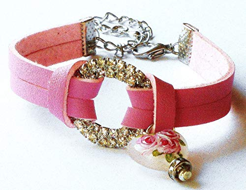 Adjustable Pink Rhinestone Hand Painted Rose Bracelet with Dangling Puffy Frosted Glass Heart Charm