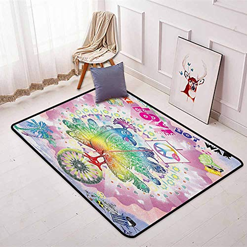Thanksgiving Non-Slip Absorbent Carpet Tropical Hippie Turkey Love Lettering Sunshine Hearts Beachy 60s Peace Vintage for Floor Carpets W31.5 x L59 Inch Multi ()