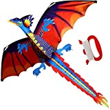 Toys : HENGDA KITE-Classical Dragon Kite 55inch x 47inch Single Line With Tail