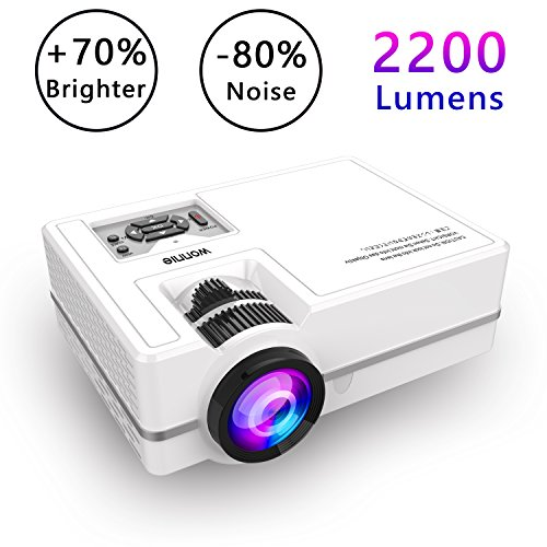 Projector, WONNIE Mini Projector 2200 Lumens 170'' Display + 70% Brighter, Multimedia Home Theater Video Projector with HDMI Cable, Support 1080P HDMI USB SD Card VGA AV TV Laptop Game Smartphone by WONNIE