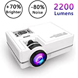 Projector, WONNIE Mini Projector 2200 Lumens 170 Display + 70% Brighter, Multimedia Home Theater Video Projector with HDMI Cable, Support 1080P HDMI USB SD Card VGA AV TV Laptop Game Smartphone