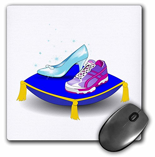 Price comparison product image 3dRose 8 x 8 x 0 25 Inches Running shoe and Princess Glass Slipper High Heel on Pillow Girl Woman Runner Run Track Race Racing Mouse Pad (mp_161510_1)