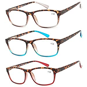 Reading Glasses 3 Pair Great Value Stylish Readers Fashion Men and Women Glasses for Reading +3