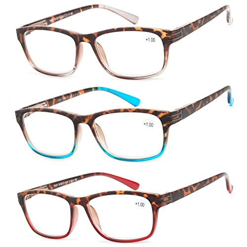 Reading Glasses 3 Pair Great Value Stylish Readers Fashion Men and Women Glasses for Reading - Readers 1.75