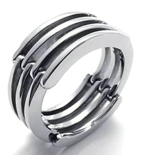 Stainless Steel Ring for Men, Round Ring Gothic Silver Band 10MM Size 10 Epinki