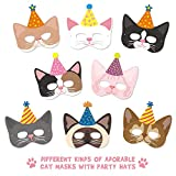 12 Packs Cat Kitten Party Masks with Party Hats