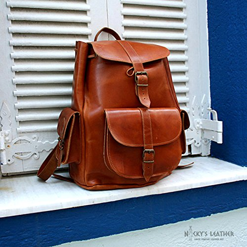 WOMEN LEATHER BACKPACK from Real Full Grain Leather by Nickys Leather