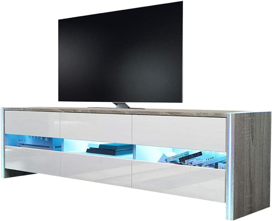 139 cm, Blanc Mat//Blanc Brillant, sans LED Selsey Inchel Meuble TV//Banc TV