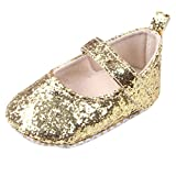 SHOBDW Girls Shoes, Toddler Baby Fashion Cute Sequins Soft Sole Crib Party Photo Hook Loop Sneaker Shoes (6-12 Months, Gold)