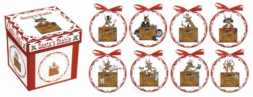Manual Santa's Reindeer Stable Christmas Mini Plates - Set of 8 - 4