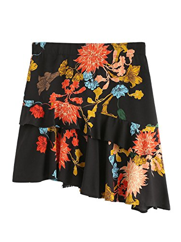 WDIRARA Women's Mid Waist Above Knee Ruffle Trim Asymmetric Floral Skirt Multicolor L