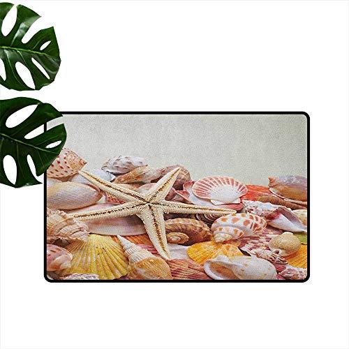 RenteriaDecor Seashells,Outdoor mats Pile of Seashells Nature Collection Beach Theme Sea Starfish Spiral 18