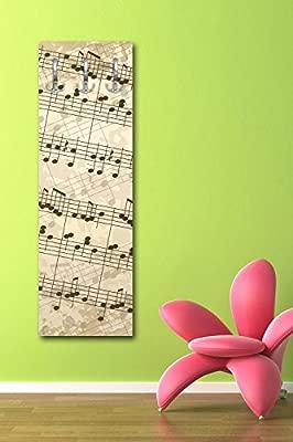 wandmotiv24 Perchero con diseño Notas Musicales G119 40 x ...