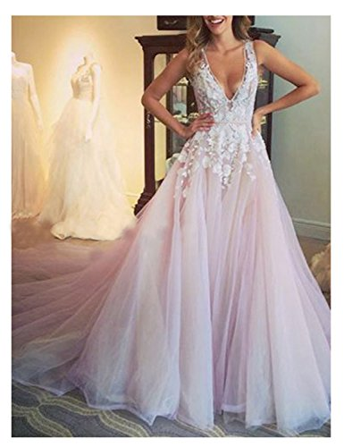 YIRENWANSHA 2018 Homecoming Dress Plus Size Empire Waist Formal Party Gown Lace Manual Appliqued Tulle Sexy V Neck Ball Gown Mermaid Long Princess Gown YW28 Pink Custom Size