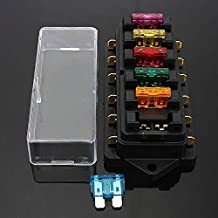 AUDEW Car Fuse Box Holder + Free Fuse Boat 6 Way Circuit Blade Block 12V/24V Universal