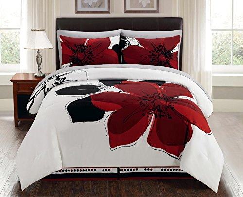 8-Piece Burgundy Red Black White Grey Floral Comforter Bed